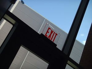 Fire emergency exit sign on building